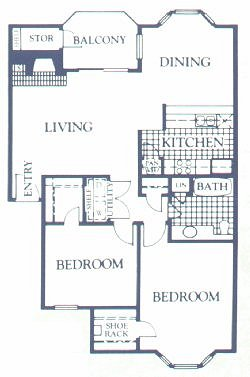 956 sq. ft. DOGWOOD floor plan