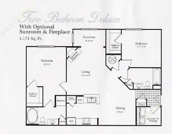 1,000 sq. ft. B1 SUN floor plan