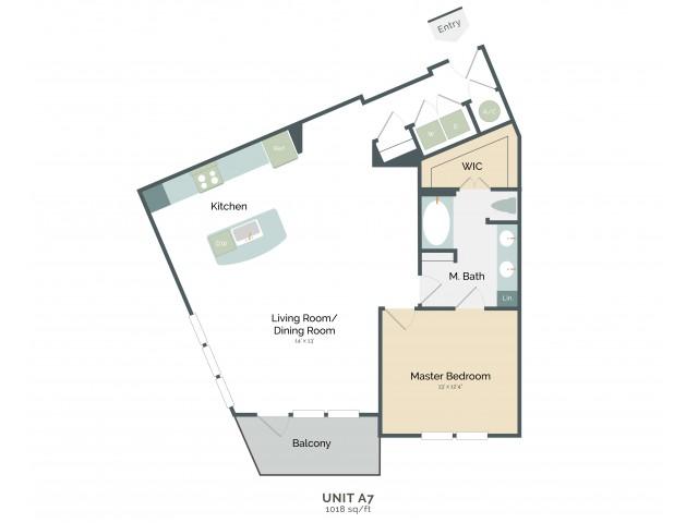 1,018 sq. ft. A7 floor plan