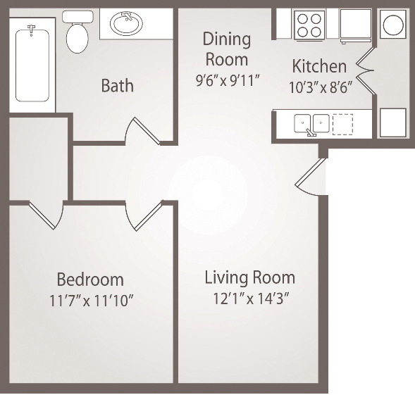 683 sq. ft. A3 floor plan