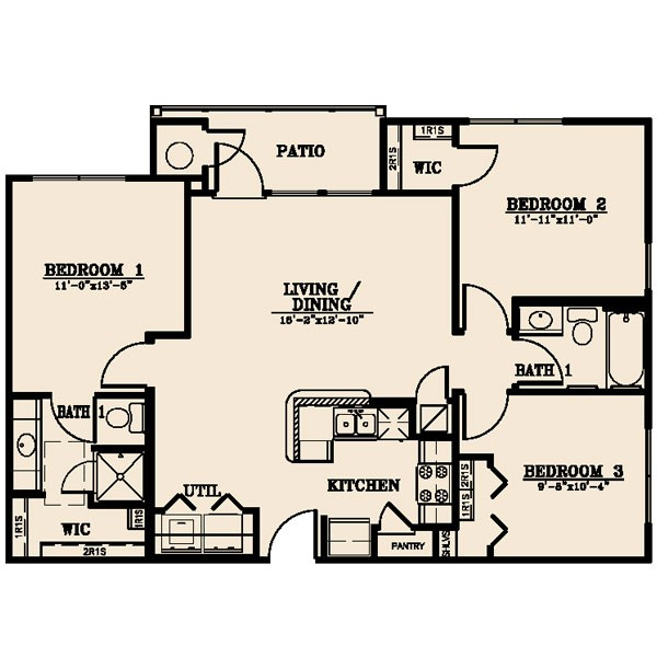 1,055 sq. ft. Sabine 50% floor plan