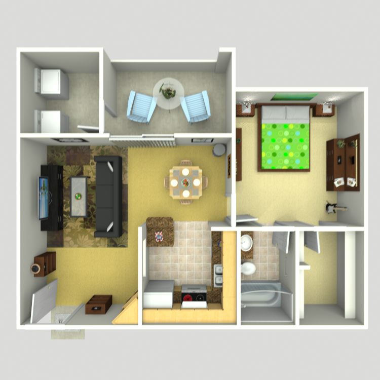 652 sq. ft. A-1 floor plan