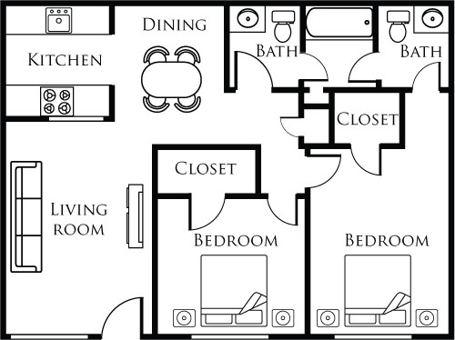 832 sq. ft. B floor plan