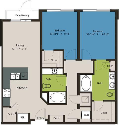 1,079 sq. ft. B10A floor plan