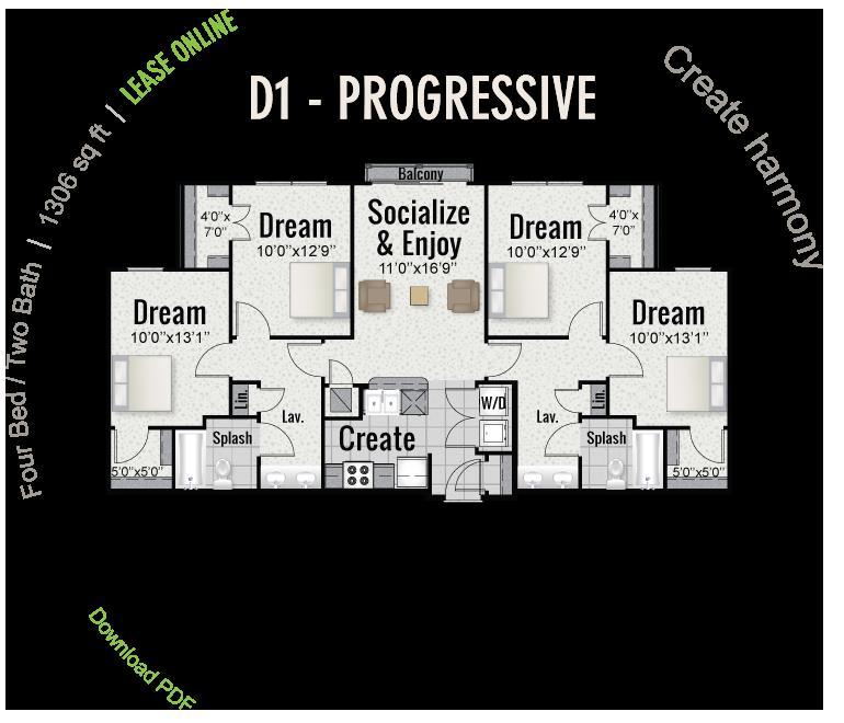 1,306 sq. ft. D1 floor plan