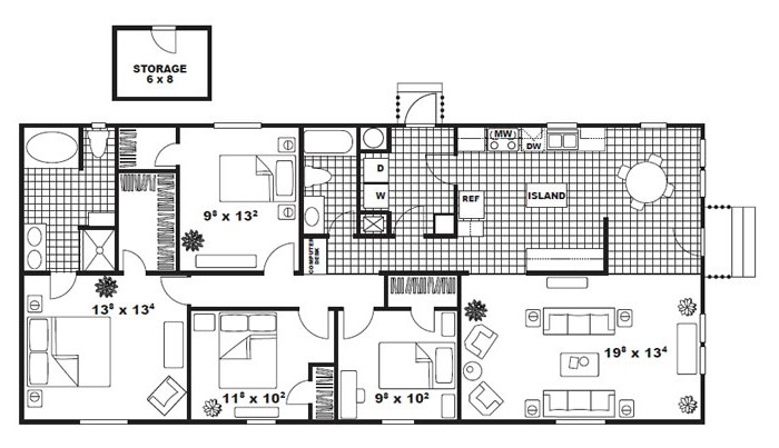 1,530 sq. ft. DREXEL floor plan
