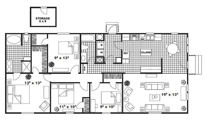 1,530 sq. ft. Drexel floor plan