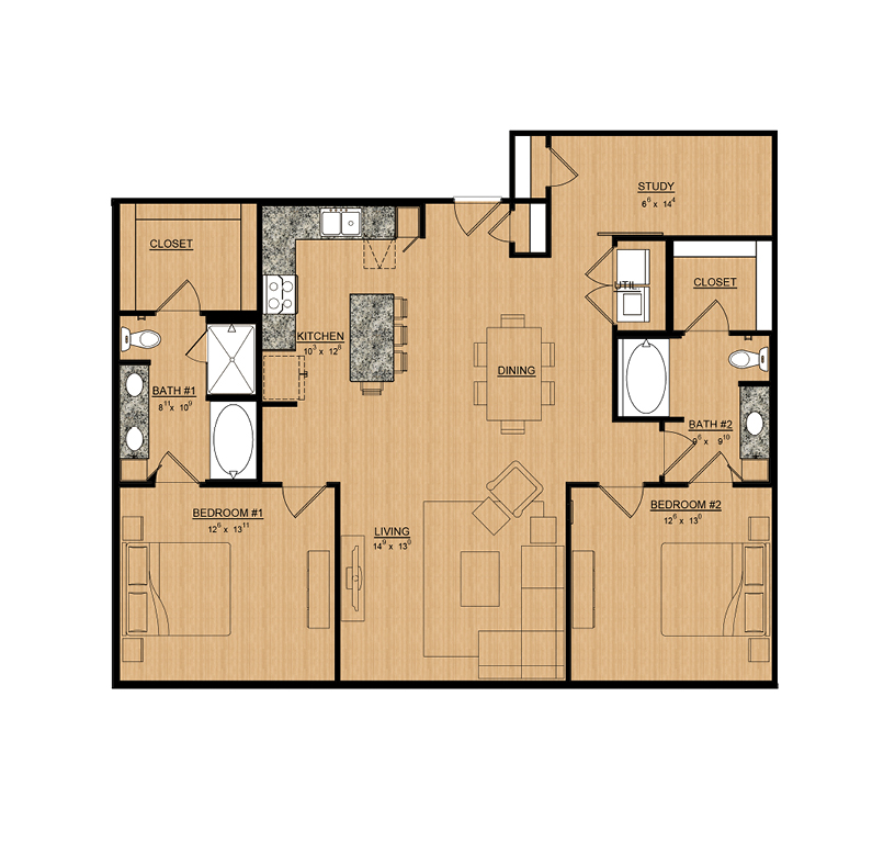 1,434 sq. ft. Dahila floor plan