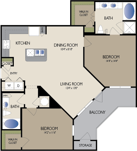 1,202 sq. ft. New York floor plan