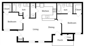 917 sq. ft. B1 floor plan