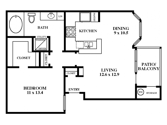 790 sq. ft. Water Oak floor plan