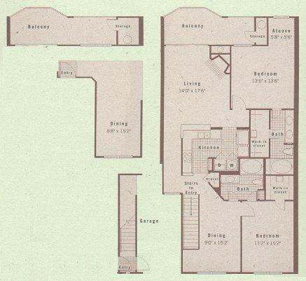 1,325 sq. ft. B3 floor plan