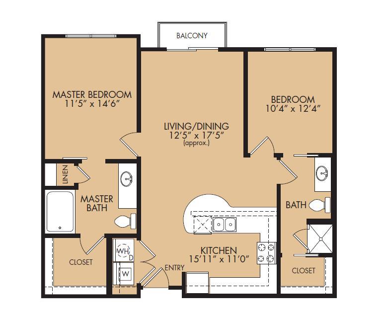 1,003 sq. ft. B1BL-Meridian floor plan