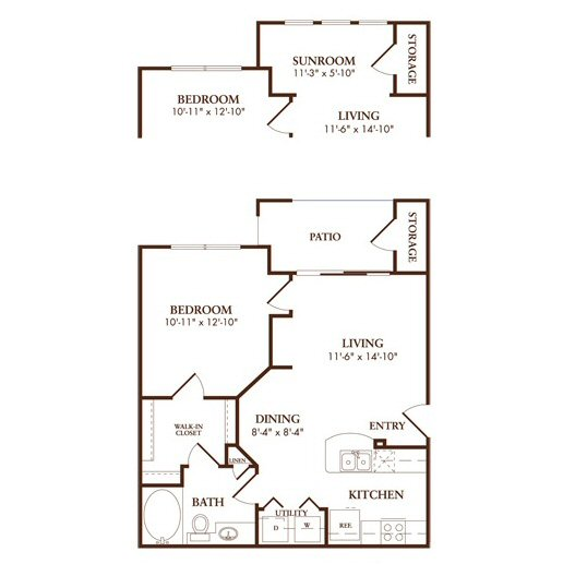 650 sq. ft. to 721 sq. ft. A1SORRENTO floor plan
