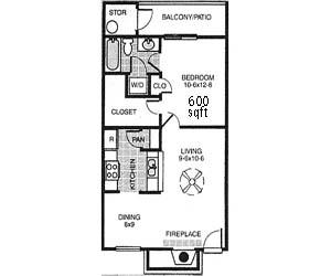 600 sq. ft. A floor plan