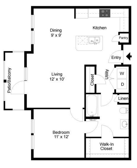 778 sq. ft. A6 floor plan