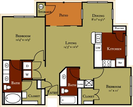1,015 sq. ft. B2 floor plan