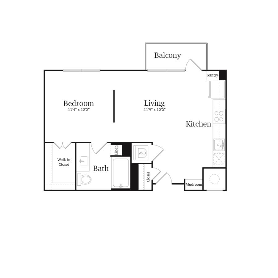595 sq. ft. A2 floor plan