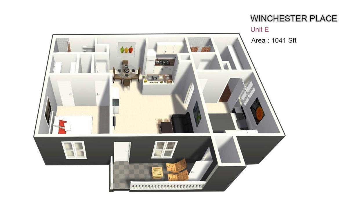 1,041 sq. ft. E floor plan