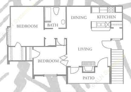826 sq. ft. B-1 floor plan
