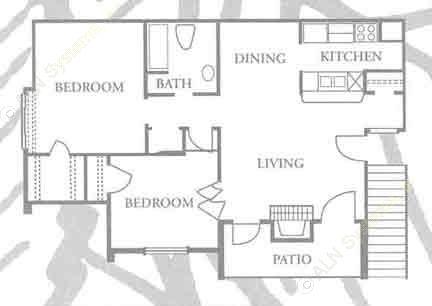 826 sq. ft. B-1 floor plan