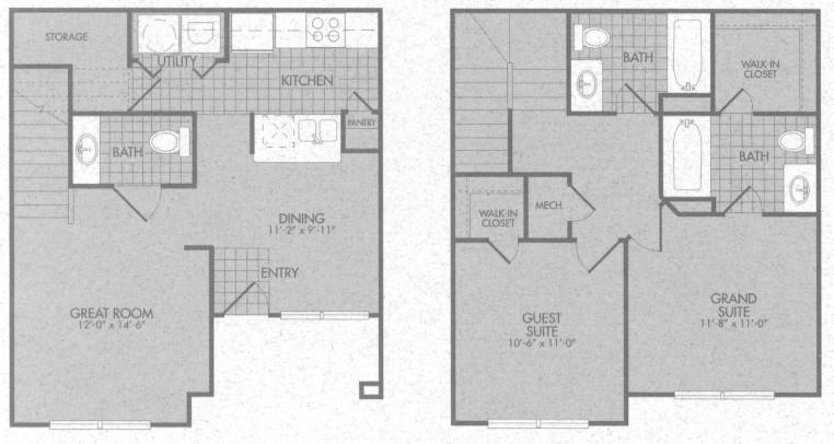 1,027 sq. ft. Charleston 50% floor plan
