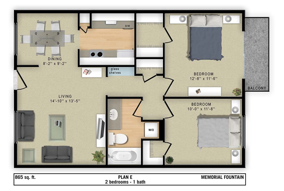 865 sq. ft. E floor plan