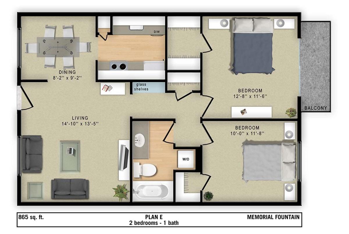 865 sq. ft. E floor plan