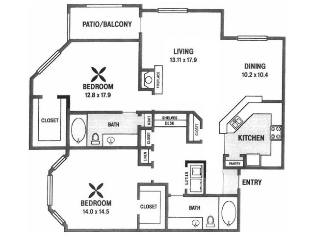 1,388 sq. ft. B7 floor plan