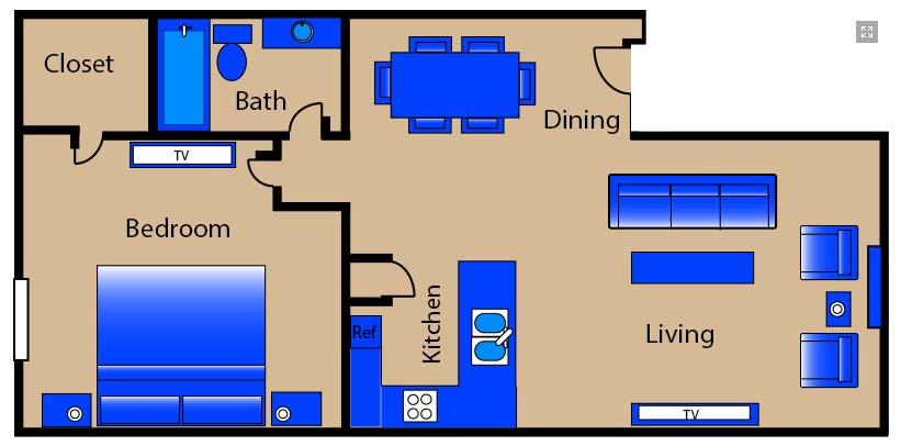 780 sq. ft. F1 floor plan