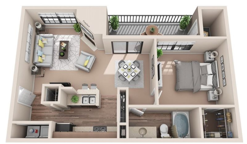 704 sq. ft. A2U floor plan