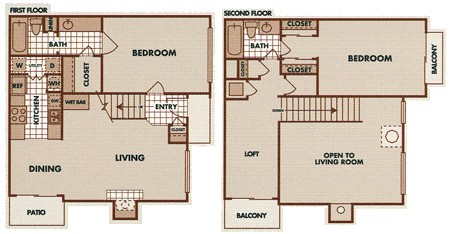 1,224 sq. ft. B5-TH floor plan