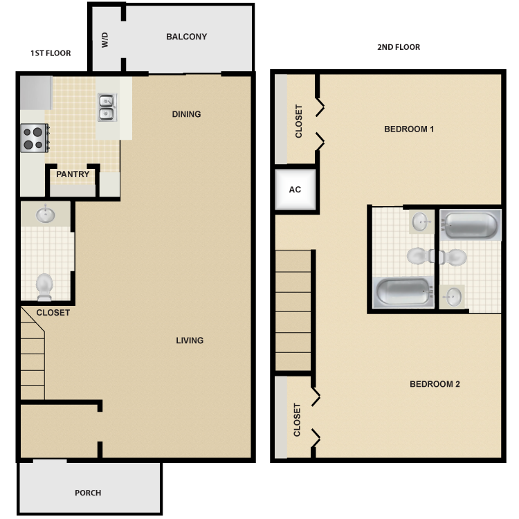 1,184 sq. ft. B6 floor plan
