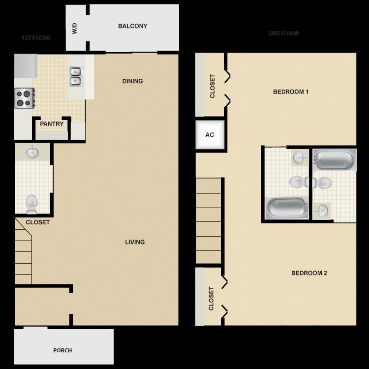 1,184 sq. ft. B6 floor plan