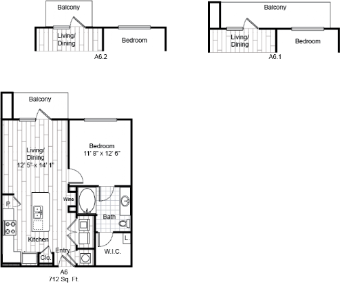 712 sq. ft. A6 floor plan
