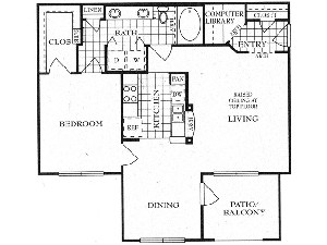 895 sq. ft. A3 floor plan
