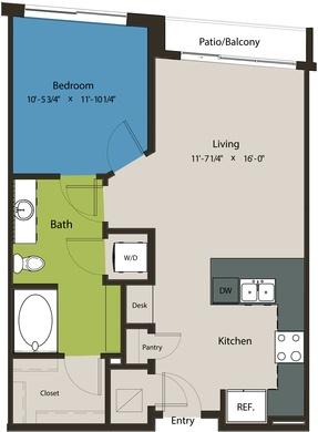 708 sq. ft. A8K floor plan