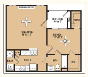 742 sq. ft. floor plan