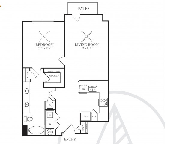 812 sq. ft. A4W floor plan