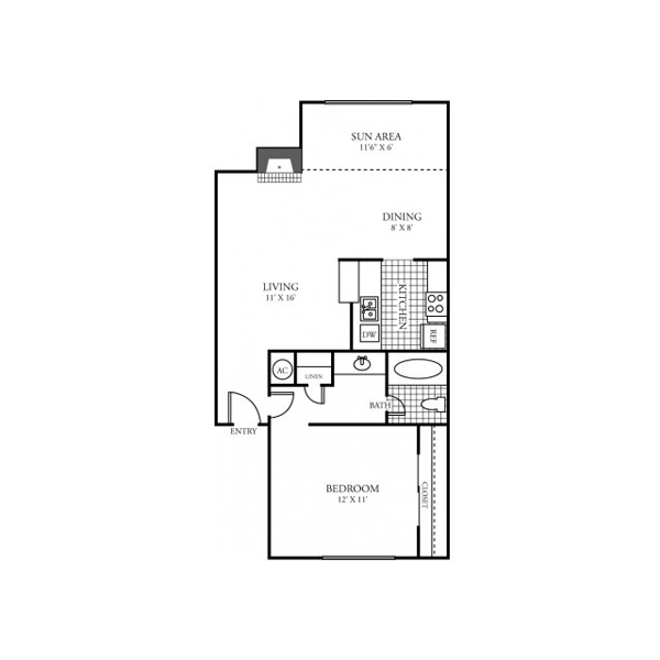 742 sq. ft. B1 floor plan