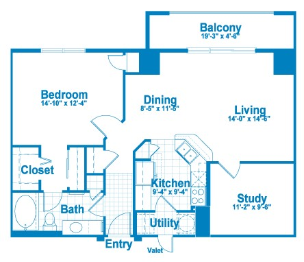 970 sq. ft. AT2.2 floor plan