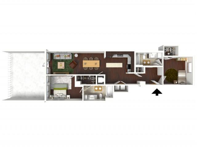 959 sq. ft. Presidential Suite floor plan