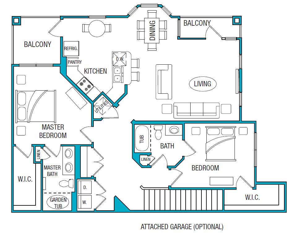 1,389 sq. ft. B4 floor plan