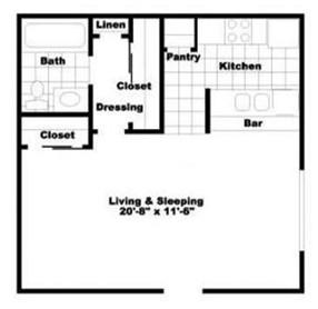 548 sq. ft. EFF2 floor plan