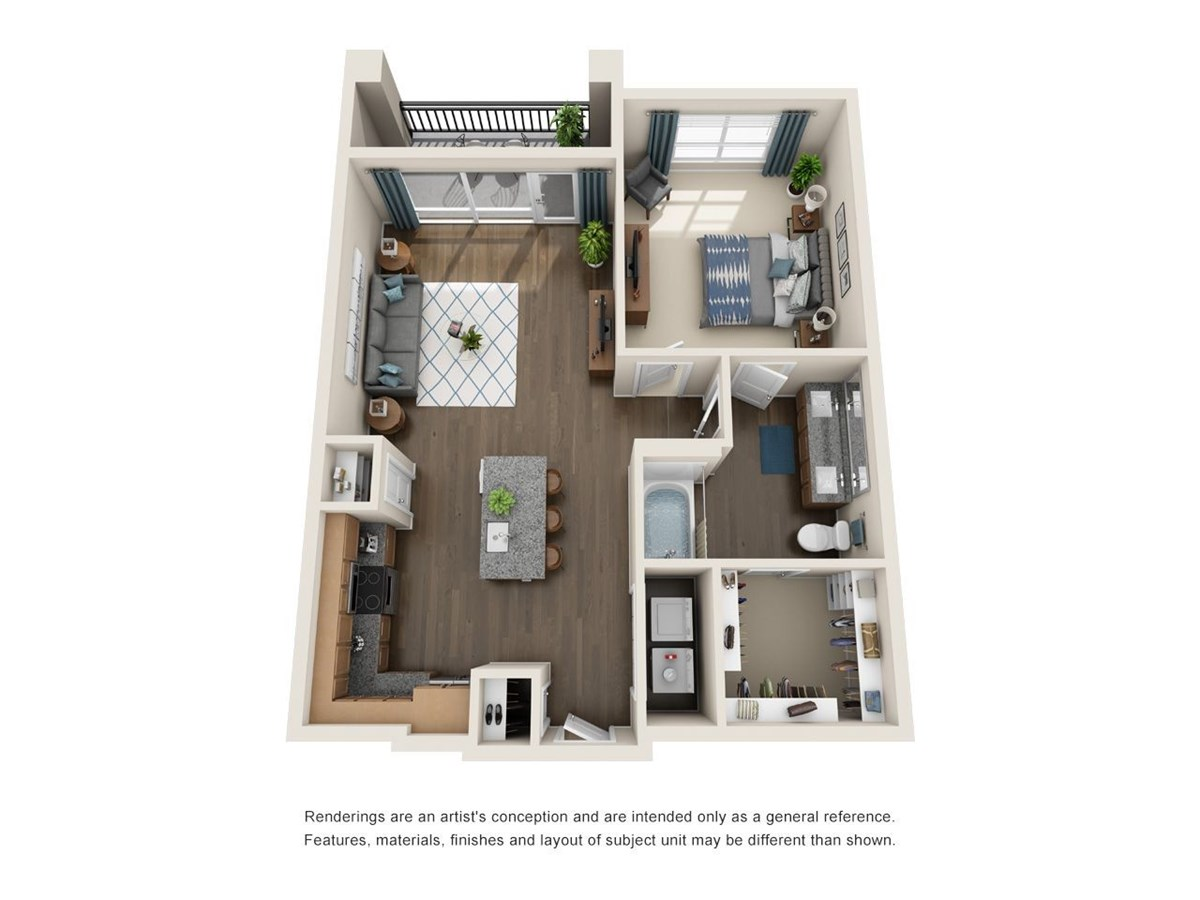 714 sq. ft. A7 floor plan