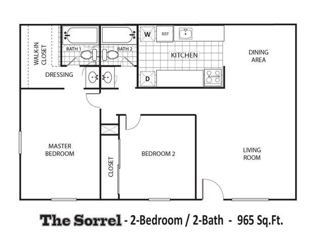 965 sq. ft. D Upgraded floor plan