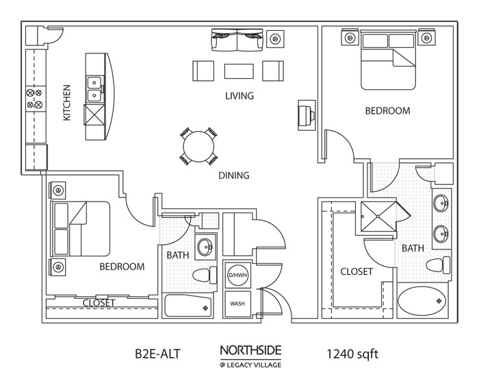 1,240 sq. ft. to 1,272 sq. ft. B2E ALT floor plan