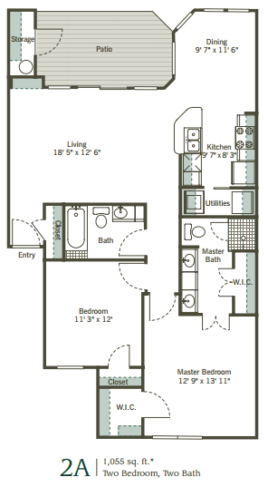 1,055 sq. ft. 2A floor plan
