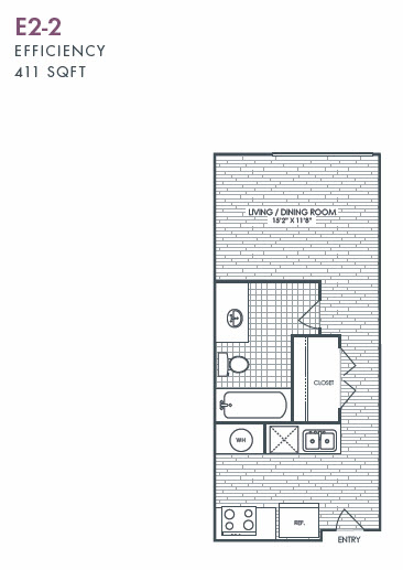 411 sq. ft. E2-2 floor plan
