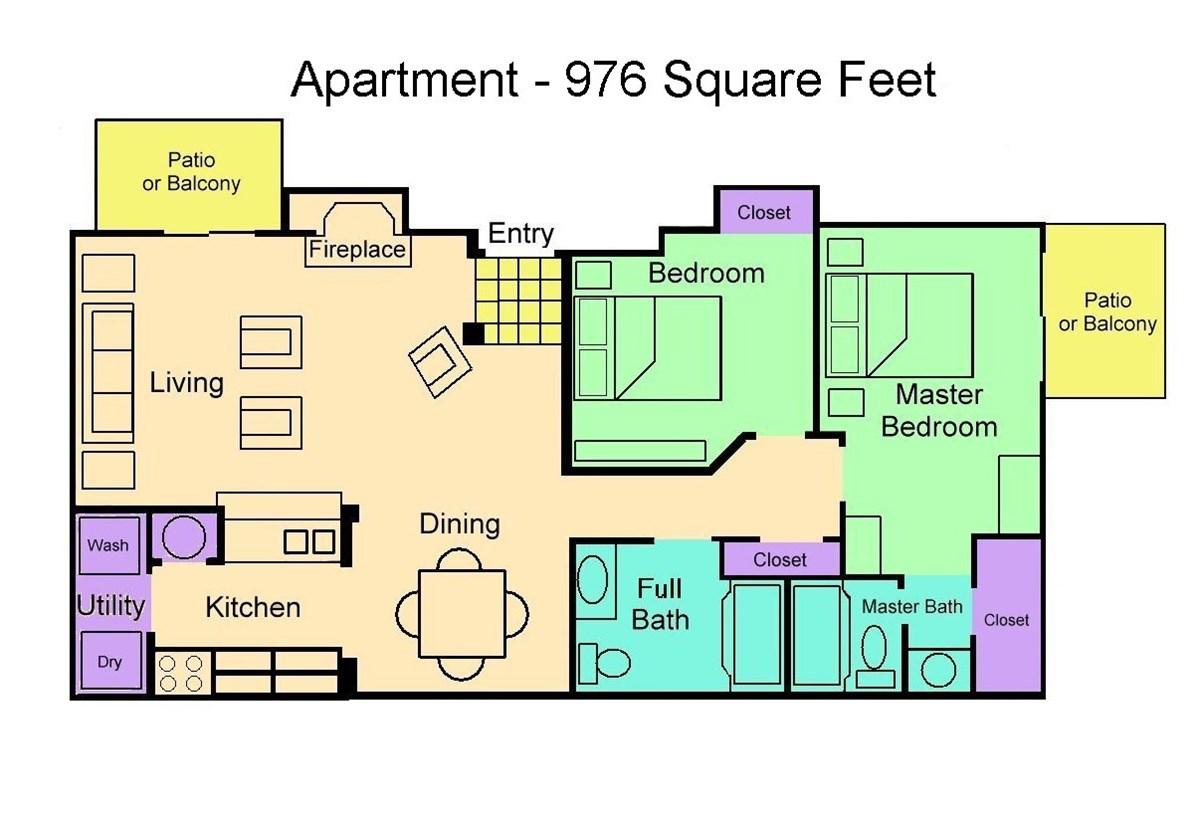 976 sq. ft. Flat floor plan